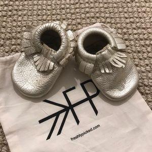 Freshly picked platinum baby moccasins
